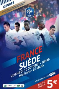 Football France - Suède U21. Le vendredi 10 octobre 2014 à Le-Mans. Sarthe.  18H45