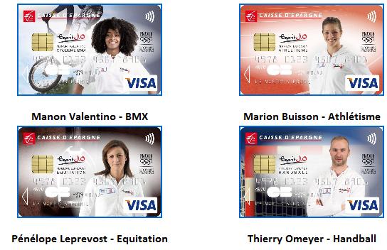 Cartes bancaires aux couleurs des athl tes du team caisse - Plafond carte bleue visa caisse d epargne ...